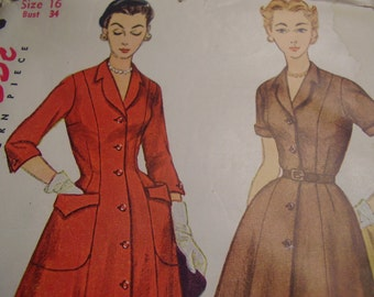 Vintage 1950's Simplicity 4490 Dress Sewing Pattern, Size 16, Bust 34