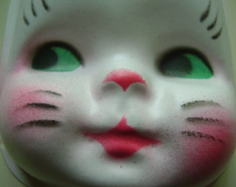 Vintage 1950's, 60's Plastic Hong Kong Bunny Doll Faces, Lot of 8