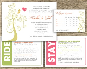 Printable + Customizable Colorful Wedding Love Bird Invitation Kit