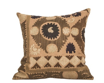 18 x 18 Pillow Cover Suzani Pillow Vintage Suzani Pillow Hand Embroidered Pillow Uzbek Suzani Pillow FAST SHIPMENT with ups or fedex - 07562