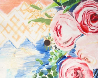 "Archival Print of Original Watercolor ""Navy and Coral Bouquet For Anna 2"""