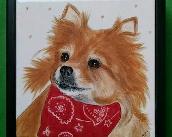 """Dog Portrait tile-6"""" FRAMED"""