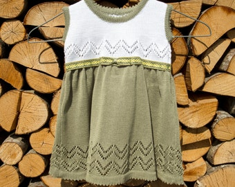 Cotton knitted spring / summer dress for the baby girl and toddlers any size