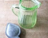 Vintage Hocking Uranium Green Ribbed Glass Syrup Pitcher, 1930's
