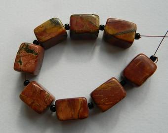Large picasso Jasper rectangle beads,large beads,gemometric bead,beading supply