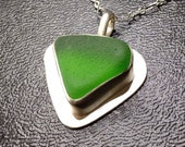 Kelly Green Sea Glass Necklace- Authentic Sea Glass Bezel Pendant Jewelry