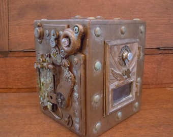 Steampunk Post office Box Piggy Bank - Chester Mannly