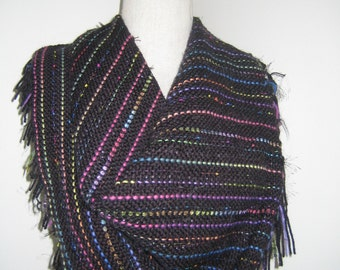 Black with multi-colored stripes square scarf