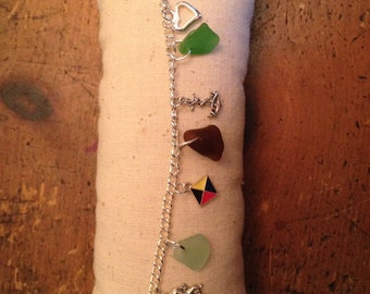 Sea glass bracelet mixed colors of real sea glass