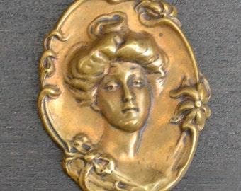 Beautiful brass victorian / edwardian / art nouveau pendant cameo portrait woman with flowers / gibson girl / mucha / ABQYKO