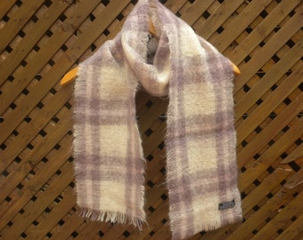 Vintage 80s Plaid Mohair Wool Scarf by Foxford Made in Ireland Lilac White Rectangular Scarf