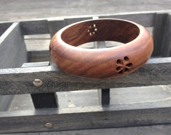 Wooden Bracelet with Flowers
