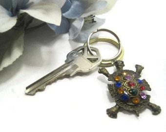 Bronze Jeweled Turtle Keyring, Key Ring, Keychain, Key Chain