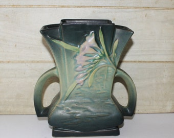 Roseville Pottery - Green Freesia Fan Vase - 200-7 -Double Handled - Vintage - Art Deco - Vintage Wedding Decor - Home Decor - Collectibles