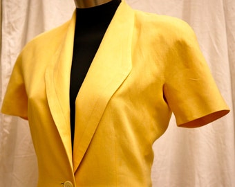 Armani 3 piece jacket, skirt and pants in primrose yellow linen