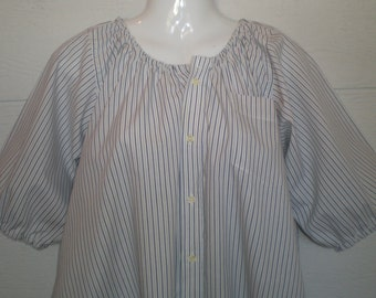 Peasant Blouse, ladies top, comfy shirt, upcycled from a men's shirt, 52 inch, Large, white with denim blue pinstripes