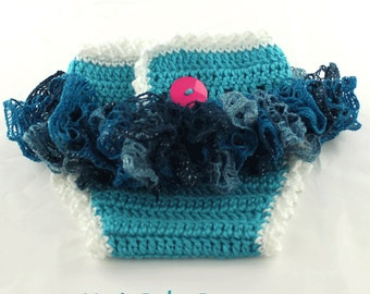 Ruffle Diaper Covers for Baby Girls Crochet Turquoise Blue