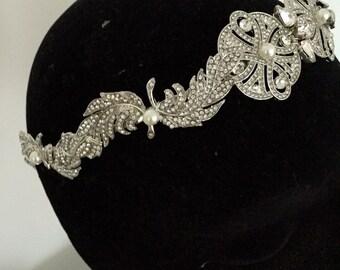 Bridal Headband - leaf headband - Wedding headpiece - Tiara -  wedding headdress - 1920s dress - Art deco style -  Regal - 1920s wedding