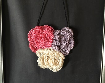 Romantic Rose trio bib necklace