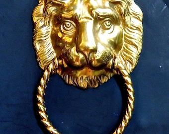 Brass Lion Door Knocker, Lion's Head, Estate Door Knocker