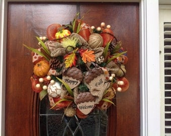 Welcome Fall Burlap and Mesh Wreath