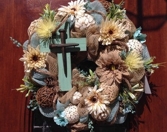 Turquoise Cross with Nailheads Wreath