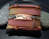 gypsy soul  hand stamped hand dyed silk wrap bracelet with feather charm and  magnetic clasp by D2E Gallery