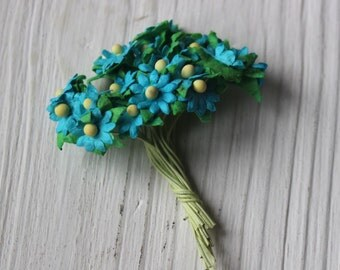 Turquoise and yellow mulberry paper flowers