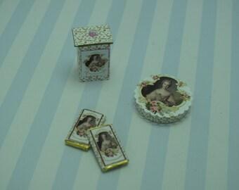 Gaël  Miniature Dollhouse Shabby box chocolate bar packing  for Dollhouse, shabby chic  Home Decor Accessory. Handmade miniatures