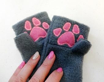 Paw Print Black Fingerless Gloves. Children Halloween Accessory.
