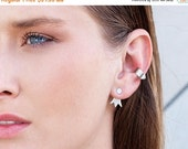 SALE Valentines day silver ear jacket, delicate silver stud ear jackets\24 k gold plated earjackets.