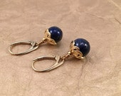 Lapis Lazuli and Gold Celtic Earrings