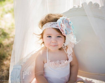 """Flower headabnd pink and blue flower matches Dollcake """"Her Baby Blues"""" Vintage Lux Ivory Cream, blue and soft pale blush pinks Handmade"""