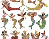 19 Vintage Inspired MERMAIDS! Sirens of the Sea - Instant Download - Printable Digital Sheet