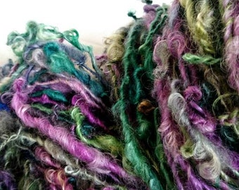 JOY Handspun Teeswater Yarn - OOAK  hand dyed  single ply textured art yarn green purple worsted weight