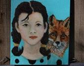 Original 8 x 10 Girl Child Painting Inspirational, Fox, Children's Decor, Nursery room, Turquoise, Children's story, Girls Room-Inspiration