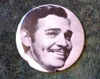 Antique Clark Gable Button Pin    Black And White