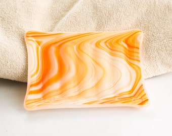 Orange Glass Soap Dish, Orange Bathroom, Powder Room, Guest Bathroom Decor,  Soap