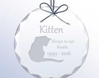 Engraved Memorial Crystal Ornament for Cats