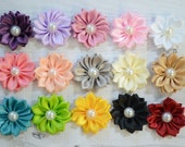 "Small 1.5"" satin pearl flowers, You pick quantity, petite flowers, satin flowers, wholesale flowers, DIY headband supplies"