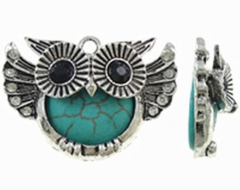 2pc 33x24mm antique silver finish metal owl with turquoise pendant-9203