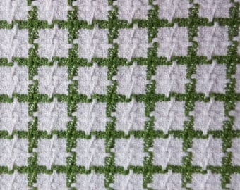 Avocado Green and White Checked Full/Queen Size Vintage 100% Cotton Woven Bedspread