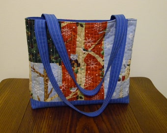 Christmas Tote Bag, Quilted Tote Bag, Satchel, Utility Bag with Lining, made with Charm Pack