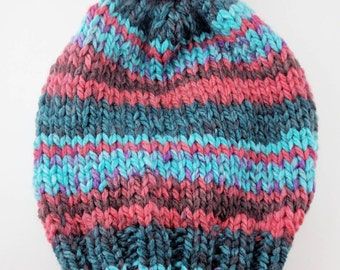 READY TO SHIP - Multicolor Chunky Knit Striped Slouchy Beanie with pom-pom