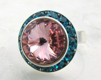 Vintage Light Rose on Blue Zircon Swarovski Crystal Ring Adjustable Silver Halo