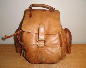 Vintage Brown Colombian Leather Backpack Rucksack Bookbag Computer Laptop Bag