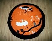 """Meditation Cushion Zafu. Floor Pillow. Orange Birds w. Black Blend Twill. Buckwheat Hulls.  15"""" x 5"""" 6"""" L. sidewall zipper. Handmade, U.S.A."""