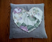 """Proxy Pillow for your Reiki practice. Flax Linen w. Floral Heart. 14""""x14""""  Filled w. dried Roses, Lavender, Buckwheat Hulls. USA made"""