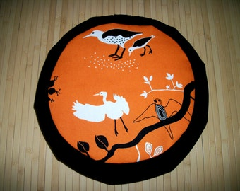 "Meditation Cushion Zafu. Floor Pillow. Orange Birds w. Black Blend Twill. UNFILLED Cover.  15"" x 5""; 6"" L. sidewall zipper. Handmade, U.S.A."