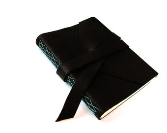 Black Large Leather Journal with Double Wrap Tie